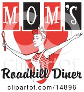 Happy Red Haired Woman In An Apron Her Hair Up In A Scarf Singing And Dancing With A Spoon On A Red And Black Vintage Sign For Moms Roadkill Diner Clipart Illustration