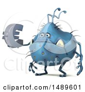 Clipart Of A 3d Blue Monster Or Germ Character On A White Background Royalty Free Illustration