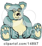 Blue And Tan Stuffed Teddy Bear Wearing Glasses Retro Clipart Illustration by Andy Nortnik
