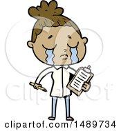 Cartoon Clipart Crying Saleswoman