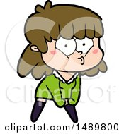 Cartoon Clipart Whistling Girl