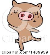 Clipart Cartoon Pig Dancing by lineartestpilot