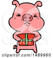 Clipart Cartoon Angry Pig With Christmas Present
