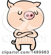Clipart Happy Cartoon Pig With Crossed Arms