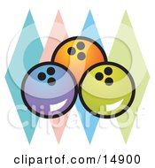Blue Orange And Green Bowling Balls Over Colorful Diamonds Clipart Illustration