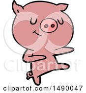Clipart Happy Cartoon Pig Dancing by lineartestpilot