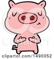 Clipart Cartoon Content Pig
