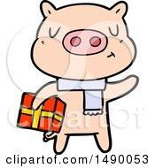 Clipart Cartoon Christmas Pig