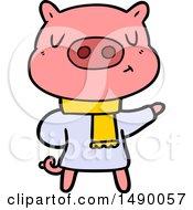 Clipart Cartoon Content Pig In Winter Attire