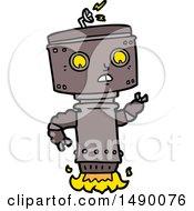 Clipart Cartoon Robot Hovering