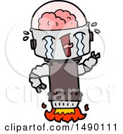 Clipart Cartoon Crying Robot Flying