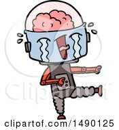 Clipart Cartoon Crying Robot Pointing