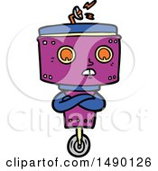 Clipart Cartoon Robot With Crossed Arms