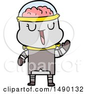 Clipart Happy Cartoon Robot Waving by lineartestpilot