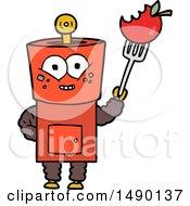 Clipart Happy Cartoon Robot Waving Hello