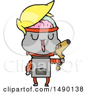 Clipart Happy Cartoon Robot by lineartestpilot