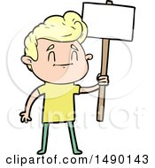 Clipart Happy Cartoon Man With Sign
