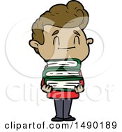 Clipart Happy Cartoon Man With Stack Of New Books by lineartestpilot