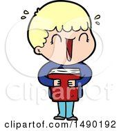Clipart Laughing Cartoon Man Holding Book by lineartestpilot