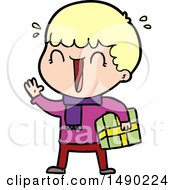Clipart Laughing Cartoon Man With Present