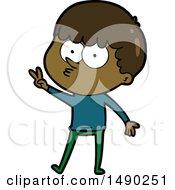 Clipart Cartoon Curious Boy Dancing by lineartestpilot