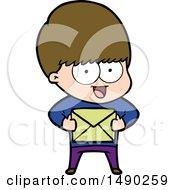 Clipart Happy Cartoon Boy With Present