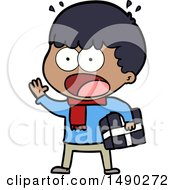 Clipart Cartoon Shocked Man With Gift