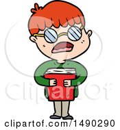 Clipart Cartoon Boy Hugging Book Wearing Spectacles by lineartestpilot