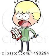 Clipart Cartoon Shocked Man With Clipboard And Pen