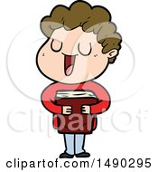 Clipart Laughing Cartoon Man With Book by lineartestpilot