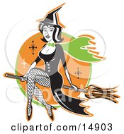Cute Black Haired Witch In A Pointy Hat Long Black Dress And Fishnet Stockings Sitting Cross Legged On A Broomstick While Flying Through The Night Sky Clipart Illustration