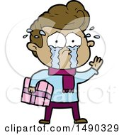 Clipart Cartoon Crying Man With Present