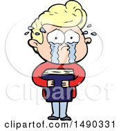 Clipart Cartoon Crying Man Holding Book by lineartestpilot