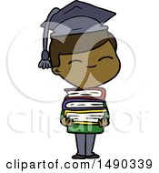 Clipart Cartoon Smiling Boy With Stack Of Books by lineartestpilot