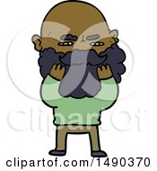 Clipart Cartoon Man With Beard Frowning Checking His Beard