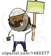 Clipart Bearded Protester Cartoon