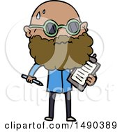 Clipart Cartoon Worried Man With Beard And Sunglasses Taking Survey