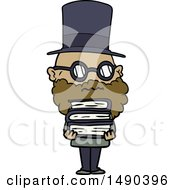 Clipart Cartoon Worried Man With Beard And Stack Of Books by lineartestpilot