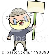 Clipart Cartoon Bearded Protester Crying