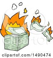 Clipart Burning Money Cartoon