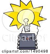 Clipart Cartoon Overheating Computer Chip