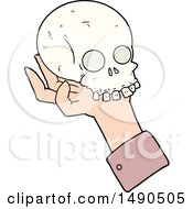 Clipart Cartoon Hand Holding Skull by lineartestpilot