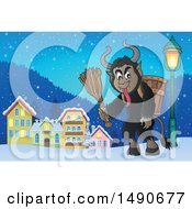 Clipart Of A Demon Goat Man Krampus In A Town Royalty Free Vector Illustration