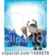 Clipart Of A Border Of A Demon Goat Man Krampus Royalty Free Vector Illustration by visekart
