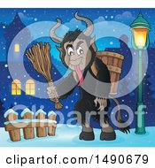 Clipart Of A Demon Goat Man Krampus In A Village Royalty Free Vector Illustration