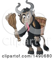 Clipart Of A Demon Goat Man Krampus Royalty Free Vector Illustration by visekart