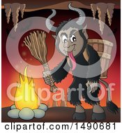 Clipart Of A Demon Goat Man Krampus In A Cave Royalty Free Vector Illustration