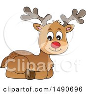 Clipart Of A Red Nosed Christmas Reindeer Royalty Free Vector Illustration by visekart