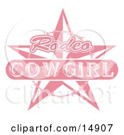Pink Rodeo Cowgirl Sign With A Star And Barbed Wire Clipart Illustration