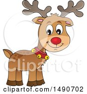 Clipart Of A Red Nosed Christmas Reindeer Royalty Free Vector Illustration